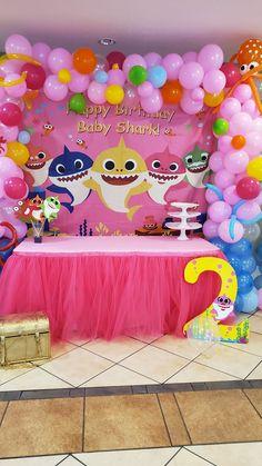 Moana Birthday Party Theme, 2nd Birthday Party For Girl, Birthday Party Treats, Girl Birthday Decorations, Baby Birthday Cakes, Baby Party, Baby Shark, First Birthdays, Ideas