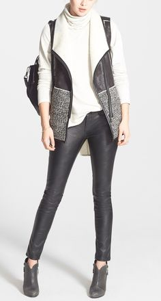 Faux leather skinny pants always add an edgy element to everyday outfits.
