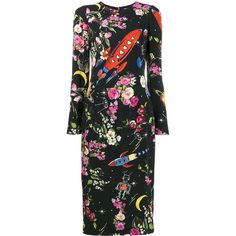 Dolce & Gabbana rocket and floral midi-dress (£1,625) ❤ liked on Polyvore featuring dresses, black, long sleeve midi dress, floral day dress, floral print long sleeve dress, floral midi dress and floral print dress