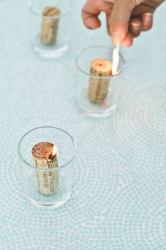 Cork candles. Finish your wine and collect corks. Then soak them in a capped mason jar filled with aceatone alcohol for a week. Light them up and enjoy making the easiest candle there ever could be. Happy summer! So awesome!!