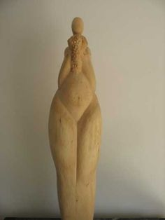 #Wood - lime tree / linde #sculpture by #sculptor Martina Net�kov� titled: 'Caress (Woodi abstract Pregnant Mother carvings)'. #MartinaNet�kov�