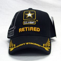 fee89c94ec3 Military Retired Army Strong with Shadow Black Embroidered Baseball Cap