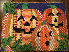 Pumpkins needlepoint, canvas from Pajamas and Chocolate