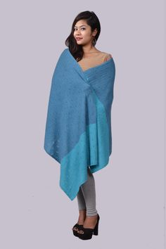 2 color cashmere pointelle shawl.