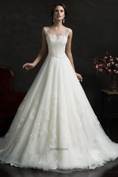 2016 New Amelia Sposa Wedding Dresses Scoop Collar Sleeveless Applique Beads Lace And Tulle Ball Bridal Gowns With Sweep Train Custom Made Ball Gown Dresses Cheap Ball Gowns Dresses From Liuliu8899, $255.45| Dhgate.Com