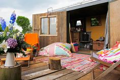 Mad Dogs and Vintage Vans Glamping Herefordshire Canopy And Stars, Vintage Caravans, Herefordshire, Vintage Vans, Holidays With Kids, Outdoor Furniture, Outdoor Decor, Glamping, Bean Bag Chair