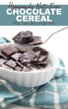 Homemade Chocolate Cereal – Keto Recipe The best keto cereal recipe! Crisp chocolate flakes that hold up to the milk or cream. My kids LOVED this and devoured the whole batch in two days. And it's nut-free! Low Carb Cereal, Keto Cereal, Healthy Cereal, Chocolate Cereal, Homemade Chocolate, Homemade Cereal, Cereal Recipes, Flour Recipes, Low Carb Breakfast