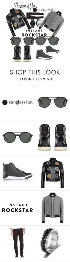 """Shades of You: Sunglass Hut Contest Entry"" by mdfletch ❤ liked on Polyvore featuring Prada, Giorgio Armani, Yves Saint Laurent, Diesel, Topman, Maison Margiela, Stampd, Michael Kors and shadesofyou"