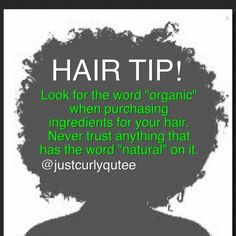 "Reason why: The term ""natural"" is double talk and can have any given meaning for business sells. #teamnatural #naturalhair #haircare #hairTip #afro #kinks #curls #coils #beautyblogger #justcurlyqutee #Padgram"