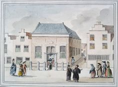 Jews to the synagogue at the Leevendaal Leiden built in 1762, circa 1788 J. Timmermans