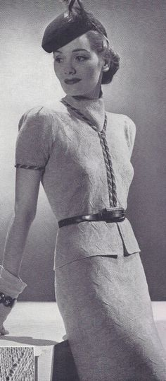 Vintage 1930s Two-Piece Suit Dress Knitting Pattern