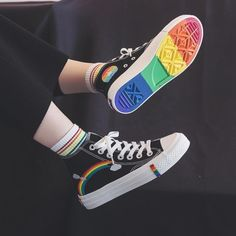 Womens Fashion 2020 Vulcanized Shoes Woman Sneakers New Rainbow Retro Canvas Shoes Flat Fashion Comfortable High Shoes Women Rainbow Laces, Rainbow Sneakers, Rainbow Converse, Cute Converse, Cool Converse High Tops, Aesthetic Shoes, Aesthetic Clothes, Aesthetic Grunge, Girls Shoes
