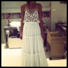 this is the dress I want! So boho chic. White Lace Maxi Dress, White Maxi, Sequin Dress, White Hippie Dress, White Frock, Lace Romper, Embellished Dress, Mesh Dress, Look Boho