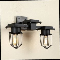 48.11$  Buy here - http://ali544.worldwells.pw/go.php?t=32679900405 - Loft American Vintage Wall Lamps Industrial Indoor Lighting Bedside Lamp Wall Lights for Home Decoration E27 Single/Double Heads