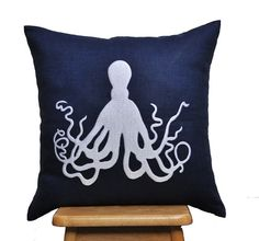 Octopus Throw Pillow Cover, Decorative Pillow Cover, White Octopus Embroidery on Navy Blue Linen, Navy Pillow Accent, Pillow Case 18 x 18 on Etsy, $24.00