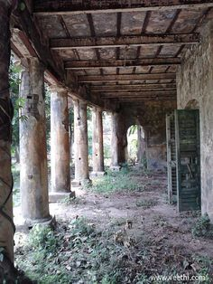 Unidentified abandoned British bungalow Verandah at Barrackpore Cantonment