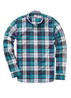 Featuring a #seasonal plaid and our signature fit, it's a washed #poplin shirt that can do it all. #menswear #fall