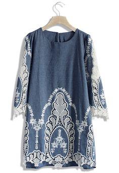 Flawless Baroque Lace Cutout Denim Shift Dress - Dress - Retro, Indie and Unique Fashion