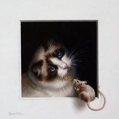 """""""Pax Mundi by Marina Dieul Animal Paintings, Animal Drawings, Art Drawings, Cat Connection, Cat Mouse, Creature Feature, Realistic Drawings, I Love Cats, Cat Art"""