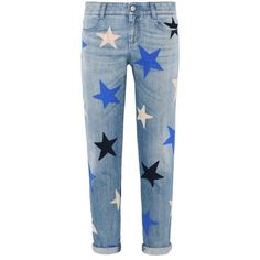 Enge Ankle Grazer Jeans in mehreren Farben mit Sternen (25,835 MXN) ❤ liked on Polyvore featuring jeans, blue jeans, stella mccartney and stella mccartney jeans