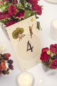 wedding stationery // le petit prince // The Little Prince // table number // www.duabu.com
