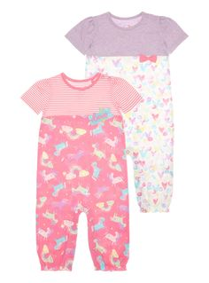 Add magic to her early days with these colourful jersey rompers, featuring pretty unicorn and heart patterns, bow detail and snug elasticated leg cuffs.   Girls multicoloured jersey rompers Pack of 2 Short sleeves Unicorn and heart pattern Bow and appliqué detail Elasticated leg cuffs Pop fastening Keep away from fire