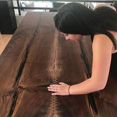 The moment my daughter @megan.manville was taking a peek through the stitching over the negative space was captured by my son and photographer @jim.emm #tailormadeseries #copperstitching #woodworking #urbanlumber #familyaffair#designermaker