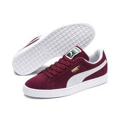 Men's PUMA Suede Classic+ Trainers in Cabernet Red size - Shoes Sneakers Sneakers Mode, Classic Sneakers, Best Sneakers, Casual Sneakers, Casual Shoes, Nike Sneakers, Puma Sneakers Suede, Girls Sneakers, Mens Puma Shoes