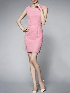 #StyleWe Shop GYALWANA Dresses - Pink Jacquard Sleeveless Polyester Mini Dress online. Discover unique designers fashion at AdoreWe.net.