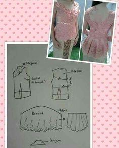 No automatic alt text available. Kebaya Peplum, Kebaya Lace, Kebaya Brokat, Batik Kebaya, Baby Dress Patterns, Blouse Patterns, Clothing Patterns, Sewing Patterns, Pants Pattern