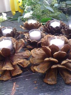 DIY Pinecone candles. Cut pinecone in half. Hot glue votive to the pinecone. For Christmas: Paint the tips and add a little glitter for sparkle.