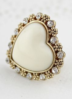 White Heart Gold Crystal Flower Ring US$6.69 - The ring is a little big but it is cute