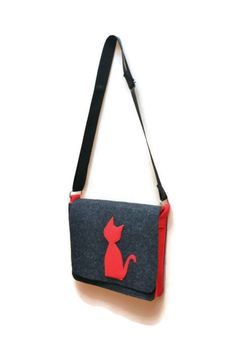 Felt Handbag bag with cat felt bag by AgathasBags on Etsy, $35.00