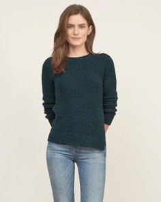 Womens Shaker-stitch Crew Sweater