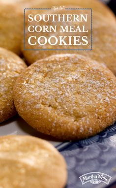 """Missing the snow that everyone up north is gettin'? Join the fun and throw an indoor snow party with your precious little ones! Sprinkle festive powdered sugar on a batch of """"Go To"""" Southern Corn Meal Cookies. Cookie Recipes, Dessert Recipes, Desserts, Cornmeal Recipes, Cornmeal Cookies Recipe, Good Food, Yummy Food, Sugar Cookies, Sweet Tooth"""