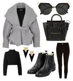 Başlıksız #1 by serenaydelibalta on Polyvore featuring polyvore, fashion, style, DKNY, Balmain, River Island, CÉLINE, Yves Saint Laurent, Fendi and clothing