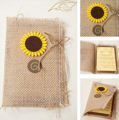 Invitație cu pânză de sac și floarea-soarelui