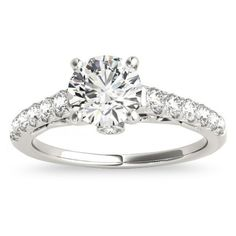 Allurez Semi Eternity Diamond Engagement Ring Cathedral 14k White Gold... ($1,200) ❤ liked on Polyvore featuring jewelry, rings, white, white gold wedding rings, diamond rings, eternity rings, 14k white gold ring and round cut engagement rings
