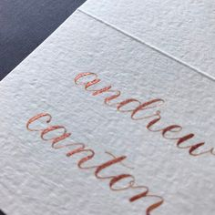 Excited to share this item from my shop: Copper tented place card, wedding and rehearsal dinner, custom calligraphy Calligraphy Ink, Beautiful Calligraphy, Wedding Calligraphy, Card Wedding, Wedding Place Cards, Wedding Ideas, Two Dots, Ink Color, Rehearsal Dinners