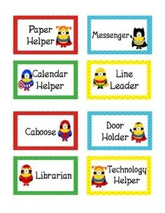 Minions Superhero Theme Classroom Jobs