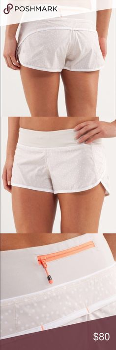 Rare Lululemon Speed Short Petit Dot Dune White Excellent condition! Hard to find! See full product description in pictures. lululemon athletica Shorts