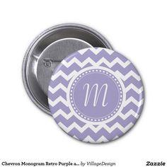 Chevron Monogram Retro Purple and White Pinback Buttons