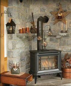 We have a wood stove that I'd love to have a stone wall behind to complete the r.,We have a wood stove that I'd love to have a stone wall behind to complete the rustic look. What is wood burning ? The pine burned by shading approach. House Design, New Homes, Corner Wood Stove, Rustic House, Stove Decor, Home, Cabin Decor, Wood Stove Decor, Fireplace