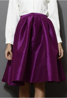 Purple A-line Midi Skirt
