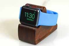 Apple Watch Stand - The RIPPLE in Walnut - Hides the cable - Perfect for Nightstand Mode .