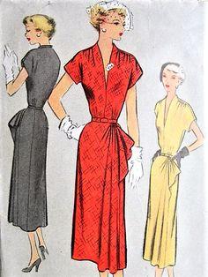 1950 STUNNING Cocktail Dinner Dress Pattern Figure Flattering Draped Shoulders, V Neckline and Flirty Cascade Side Hip Drape McCall 8044 Vintage Sewing Pattern Bust 32