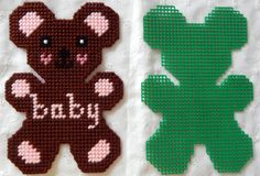 Plastic Canvas Teddy Bear Hanging Ornament or Put by AdelesCrafts