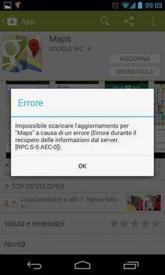 Errore [RPC:S-5:AEC-0] Google Play Guida come risolvere