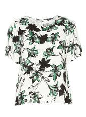 Ivory and Green Flutter Sleeve Top