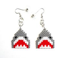 Shark earrings Pixel Jewelry Mini Perler Beads by VickyDesign88